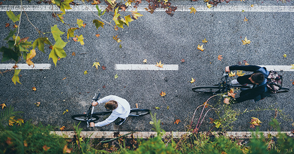 Photo: cyclists seen from above